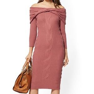 Off the shoulder dusty rose sweater dress